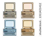 retro vintage computer with...   Shutterstock .eps vector #1311421412