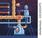 the robot turns the valve on...   Shutterstock .eps vector #1311421475
