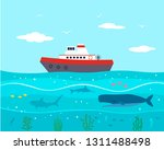 ship in the sea with scenery of ... | Shutterstock .eps vector #1311488498