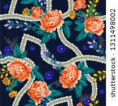 seamless pattern with roses and ... | Shutterstock .eps vector #1311498002