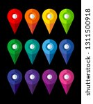 set of bright map pointers on... | Shutterstock .eps vector #1311500918