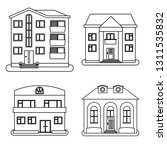 set of four houses in thin line ... | Shutterstock .eps vector #1311535832