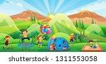 children playing in playground... | Shutterstock .eps vector #1311553058
