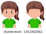 set of brunette hair girl... | Shutterstock .eps vector #1311562562