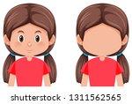 set of brunette hair girl... | Shutterstock .eps vector #1311562565