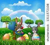 cartoon happy easter with... | Shutterstock . vector #1311572108