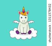 cute cartoon character unicorn. ... | Shutterstock .eps vector #1311578432