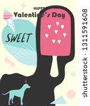 valentines day on retro pattern ... | Shutterstock .eps vector #1311591608