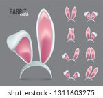 Stock vector rabbit ears realistic d vector illustrations set easter bunny ears kid headband mask collection 1311603275