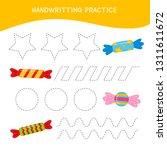 handwriting practice sheet.... | Shutterstock .eps vector #1311611672