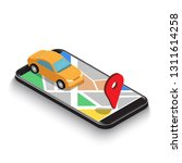 flat 3d isometric car use map... | Shutterstock .eps vector #1311614258