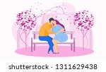 date in the park on the bench ... | Shutterstock .eps vector #1311629438