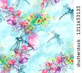 Stock photo seamless watercolor background with perfume bottle flowers paint splash watercolor card with a 1311653135