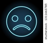emoji sad face neon icon....