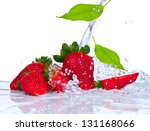 Strawberry With Leaf Splashing...