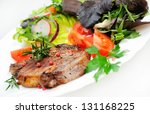 salad and meat on white | Shutterstock . vector #131168225