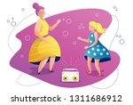 grandmother and granddaughter... | Shutterstock .eps vector #1311686912