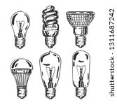 set of lamps isolated on white. ... | Shutterstock .eps vector #1311687242