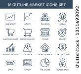16 market icons. trendy market... | Shutterstock .eps vector #1311693092