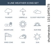 weather icons. Trendy 9 weather icons. Contain icons such as thunder, umbrella, cloudy weather, snowflake, sun, sun rise, wind cone. icon for web and mobile.