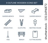 9 Wooden Icons. Trendy Wooden...
