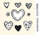 ornate sketch hearts. hand...   Shutterstock .eps vector #131170808