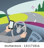 Using mobile phone while driving vector illustration - stock vector