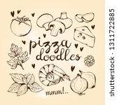 pizza ingredients doodles ...