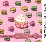 cupcakes and colorful french... | Shutterstock .eps vector #131176985
