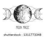 triple moon pagan wicca moon... | Shutterstock .eps vector #1311773348