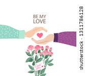 fall in love couple hands with... | Shutterstock .eps vector #1311786128
