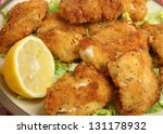 Italian fried chicken fillets with breadcrumbs, parmesan and oregano. Shallow DoF, focus on centre. - stock photo