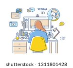girl sitting at desk with... | Shutterstock .eps vector #1311801428