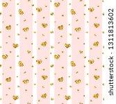 gold heart seamless pattern.... | Shutterstock . vector #1311813602