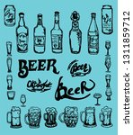 set of beer objects. hand drawn ...   Shutterstock .eps vector #1311859712