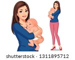 beautiful mother with her cute... | Shutterstock .eps vector #1311895712