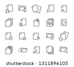 Stock vector set of document icons such as files checkmark find search paper 1311896105
