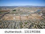 Aerial view of future baseball training facility - stock photo
