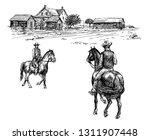 horse rider. hand drawn...   Shutterstock .eps vector #1311907448