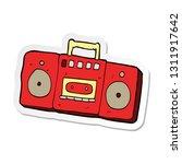 sticker of a cartoon radio... | Shutterstock .eps vector #1311917642
