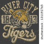 vector three color retro ... | Shutterstock .eps vector #131192765