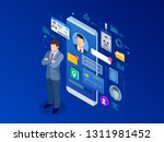 isometric personal data... | Shutterstock .eps vector #1311981452