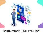 isometric personal data... | Shutterstock .eps vector #1311981455