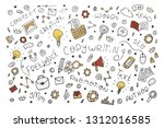 vector abstract doodle outline... | Shutterstock .eps vector #1312016585