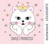 lovely beautiful cat princess...   Shutterstock .eps vector #1312032872