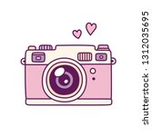 vintage photo camera  cute pink ... | Shutterstock .eps vector #1312035695