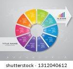modern 10 steps pie chart ... | Shutterstock .eps vector #1312040612