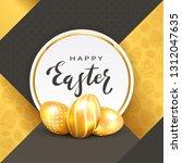 three golden easter eggs and... | Shutterstock .eps vector #1312047635