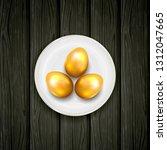 golden easter eggs with plate... | Shutterstock .eps vector #1312047665