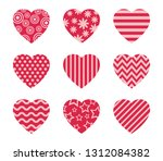 collection of doodle hearts... | Shutterstock .eps vector #1312084382